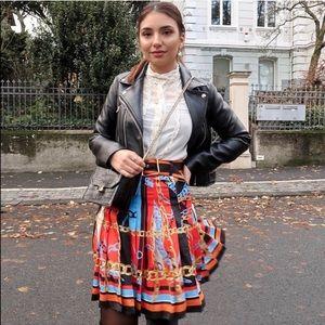 Zara chain belt pleated skirt